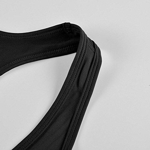 SYROKAN - Camiseta de Fitness Deportiva de Tirantes Para Mujer Negro