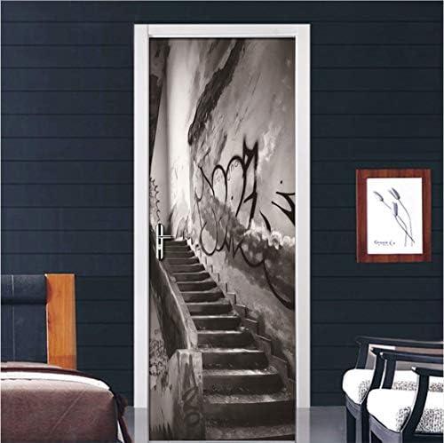 Anfwy Vintage Edificio Antiguo escaleras 3D Puerta Wallpaper Sala de Estar Dormitorio Puerta decoración Mural Pegatinas PVC Impermeable decoración del hogar Mural 77 cm x 200 cm: Amazon.es: Hogar