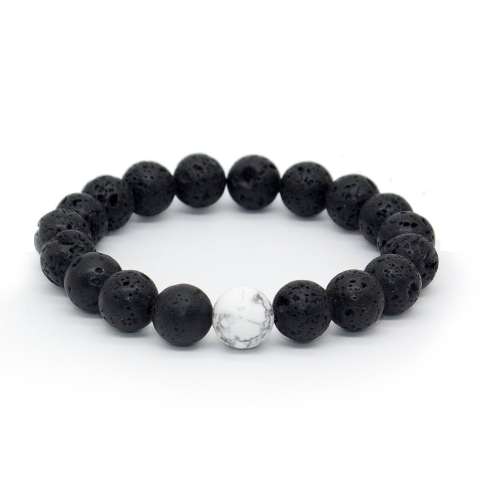 Bivei Distance Bracelets White Turquoise & Black Lava Rock Stones Yinyang Couples Bracelet Aromatherapy Essential Oil Diffuer Best Friends Family B07438LXT7_US