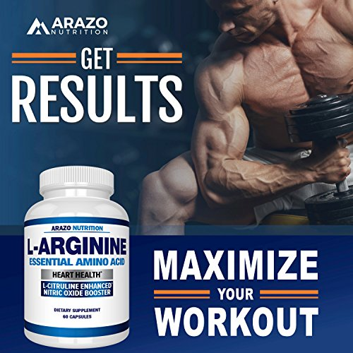 Premium L Arginine - 1340mg Nitric Oxide Booster with L-Citrulline & Essential Amino Acids for Heart and Muscle Gain | NO Boost Supplement for Endurance and Energy | 60 Capsules by Arazo Nutrition (Image #4)