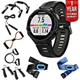 Garmin Forerunner 735XT GPS Running Watch Tri-Bundle - Black/Gray (010-01614-03) + 7-in-1 Total Resistance Fitness Kit + 1 Year Extended Warranty