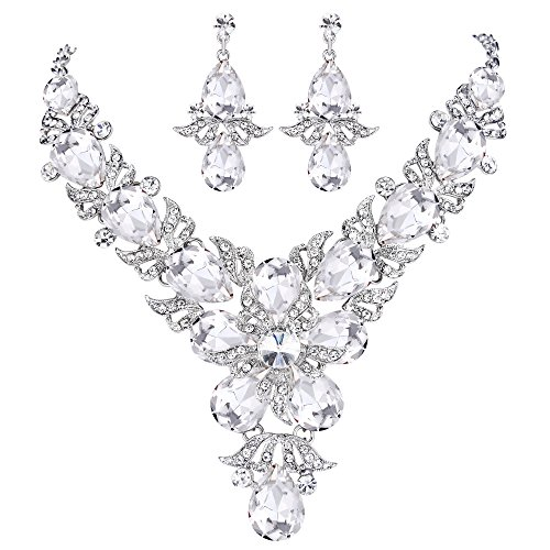 (EVER FAITH Rhinestone Crystal Wedding Flower Leaf Teardrop Necklace Earring Set Clear Silver-Tone)