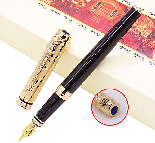 in Pen Medium 24K Gold Plated Cap with Ink Refills Converter in Luxury Gift Box Set for Business Signature and Collection ()