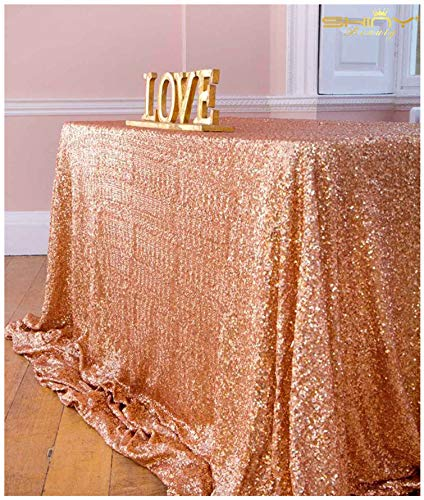 ShinyBeauty 60inx102in Sequin Tablecloth for Wedding/Party- (Rose Gold #65)]()