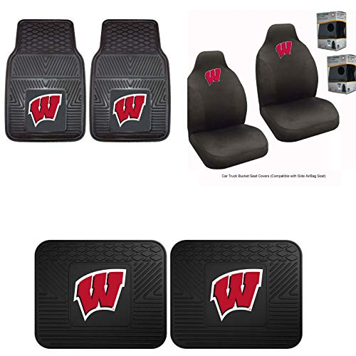 - Wisconsin Badgers Car Truck Front Rear Heavy Duty Floor Mats Set & Seat Covers