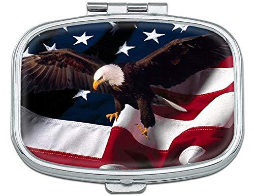 Joyce Bald Eagle American Flag CustomizedPill Box for Purse - 2 Compartment Medicine Case, am/pm Metal Mini Daily Pill Box Medicine Pill Box - Eagle Am
