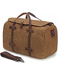 Duffle Bag, BuyAgain Waxed Canvas Travel Tote Bag Leather Trim Weekend Bag