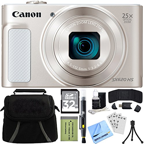 Canon PowerShot SX620 HS 20.2MP Digital Camera Silver w/ 32GB Accessory Bundle includes Camera, 32GB SDHC Memory Card, Bag, Mini Tripod, Screen Protectors, Cleaning Kit, Beach Camera Cloth and More by Canon