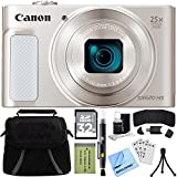 Canon PowerShot SX620 HS 20.2MP Digital Camera Silver w/ 32GB Accessory Bundle includes Camera, 32GB SDHC Memory Card, Bag, Mini Tripod, Screen Protectors, Cleaning Kit, Beach Camera Cloth and More