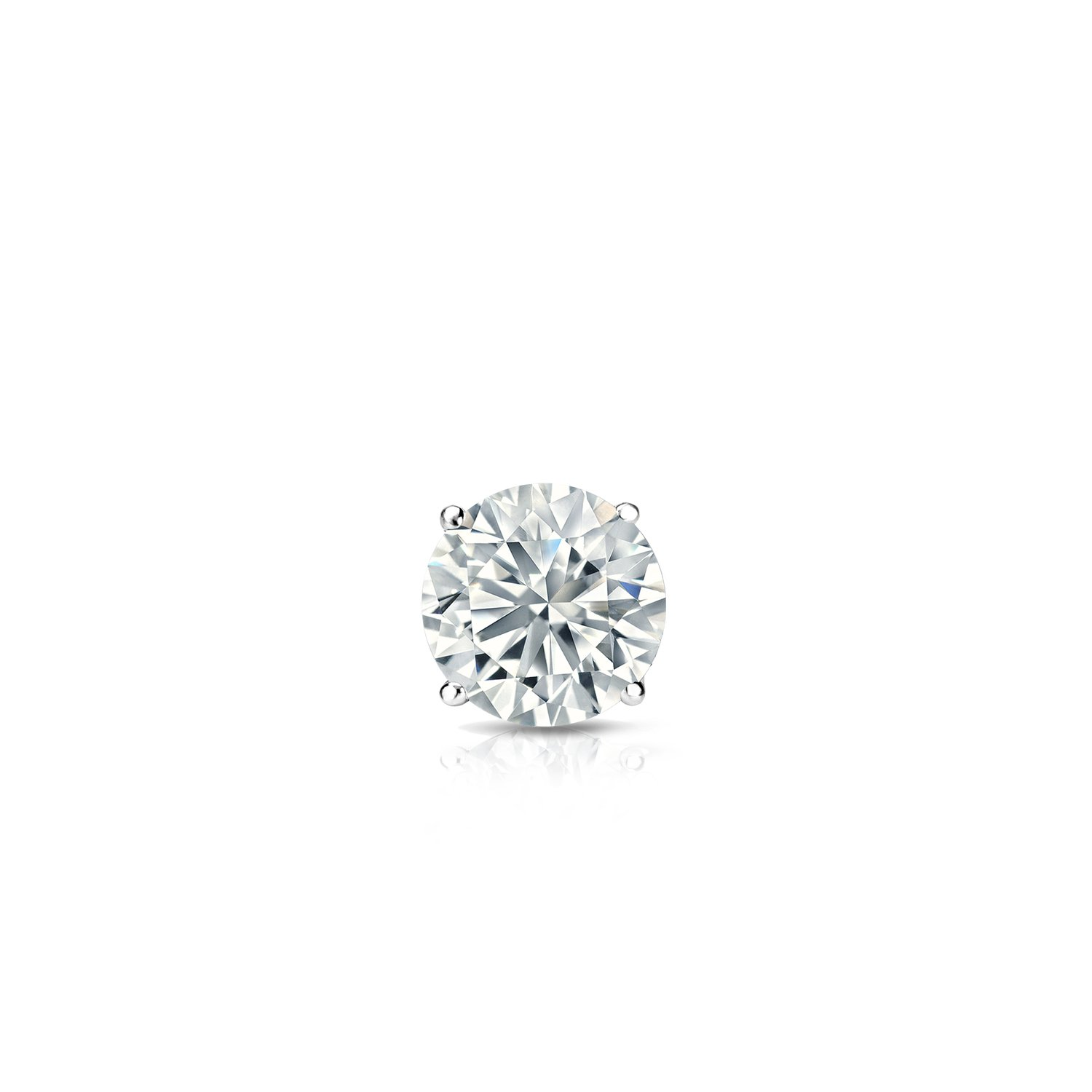 14k White Gold Round Diamond Simulant CZ SINGLE STUD Earrings 3-Prong(1/6cttw,Excellent Quality)