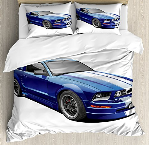 Ambesonne Teen Room Decor Duvet Cover Set Queen Size, American Auto Racing Car Sports Competition Speed Winner Boys Kids Graphic Theme, A Decorative 3 Piece Bedding Set with 2 Pillow Shams, Blue Grey