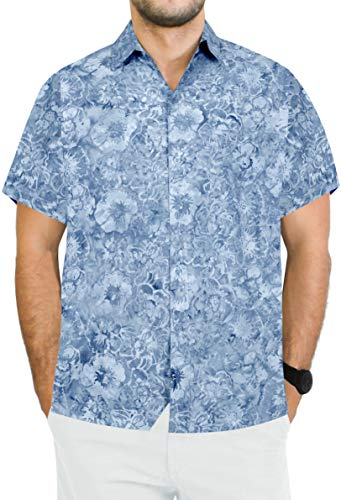 Island Aloha Shirt - LA LEELA Cotton Printed Shirt for Men Tropical Aloha L|Chest 44