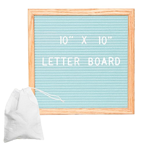 Green Felt Letter Board with 308 Letters, Numbers & Symbols - 10x10 inch Changeable Wooden Message Board Sign ()