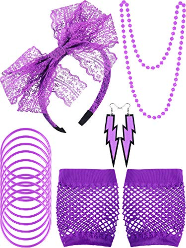 Blulu 80s Lace Headband Earrings Fishnet Gloves Necklace Bracelet for 80s Party (Purple Style A)]()