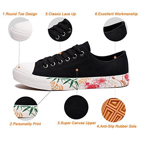 ZGR Casual Low Canvas UPS Cut Black3 Sneaker Shoes Lace Fashion Womens B4qAwBPra