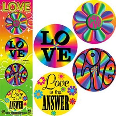 Colorful Hippie 'Love' Set Of 4 1.25' Buttons/Pinback ()