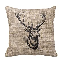 UineDo0 Vintage Rustic Deer Antlers on Faux Burlap Superior Canvas 18 x 18 inches Pillowcase