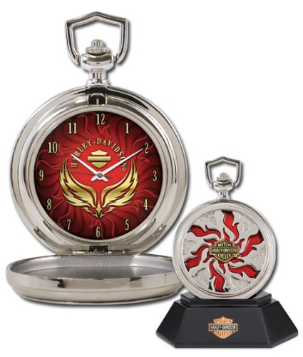 Harley-Davidson Custom Chrome Pocket Watch - Combustion from the Franklin Mint