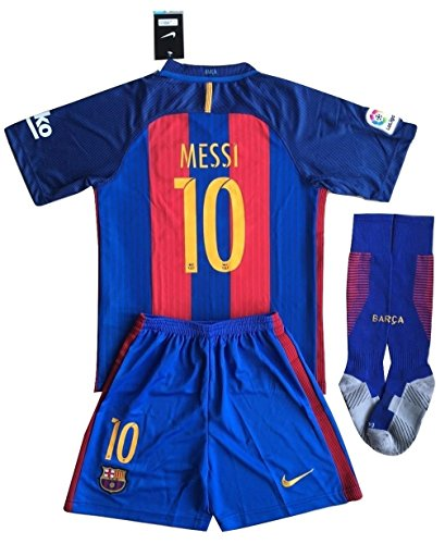 Shirts Soccer Barcelona - Barcelona Messi #10 Soccer Jersey Set + Socks Kids/Youths 7-8 Years Old