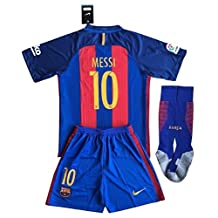 Barcelona Messi #10 Soccer Jersey Set (Shirt + Shorts + Socks) Kids/Youths 11-13 Years Old