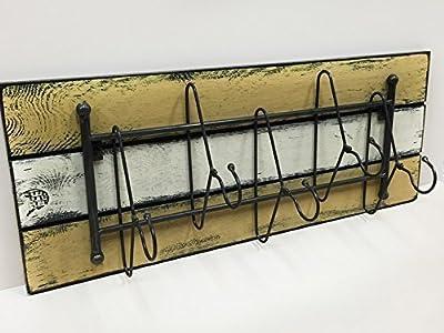 "COATRACK with HANGER 5 metal hooks 32"" Unique Rustic Distressed Reclaimed Coat Hat Towel Robe Rack for Entryway Kitchen Bathroom Laundry Room"