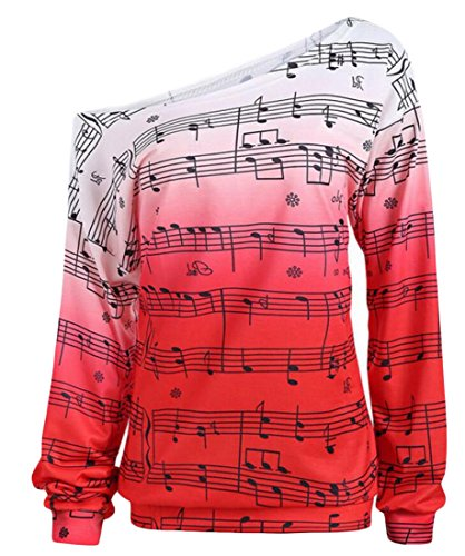 Red Casual M Sweatshirt amp;W Women's Shouder amp;S One Top Pullover rwwtzP