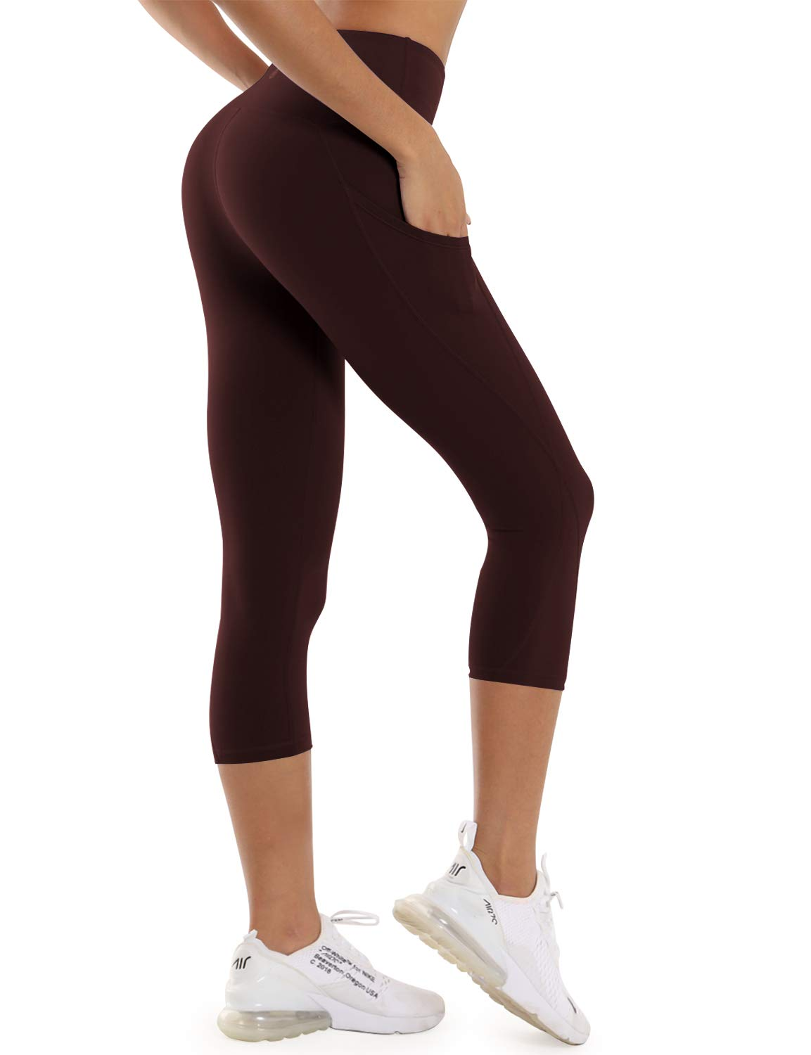 BUBBLELIME High Compression Yoga Capris Out Pocket Running Capris High Waist Active Tights UPF30+