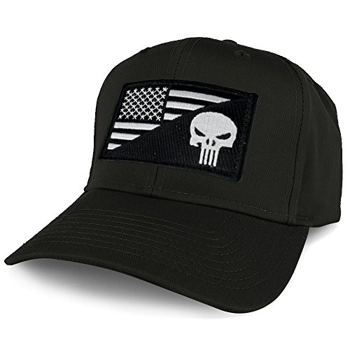 Armycrew XXL Oversize Black White Punisher USA Flag Patch Solid Baseball Cap