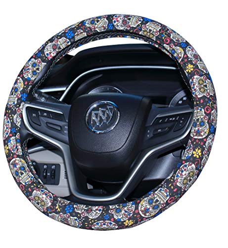 (Mayco Bell 2019 New Sugar Skull Day of The Dead Steering Wheel Cover)