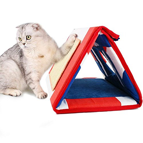 Scratching Ramp Kitty (Small Pet Tunnel Bed Cat Scrathcer Board Cats Scratch Ramps(2 Ramps) and Dangling Mice Toy Foldable For Travel And Easy Storage Great for Cats Playing Laying Sleeping Scratching)