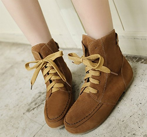 Yellow Ankle Lace Velvet Women's Martin Up high Comfy Aisun Boots Flat wIvxnqY