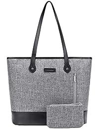 Women 15.6 Inch Laptop Tote Bag Notebook Shoulder Bag Lightweight Multi-Pocket Nylon Business Work Office Briefcase for Computer/MacBook / Ultrabook (Grey)