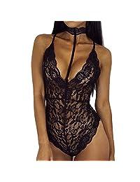 Samber Sexy Women Sleepwear Lace Choker Bodysuit V Lingerie Underwear Nightwear