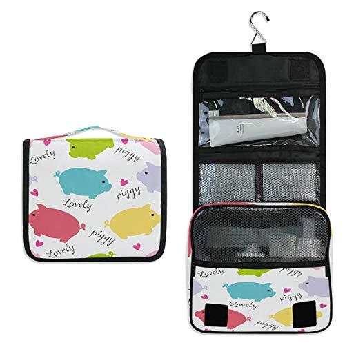 Pig With Makeup (MAHU Toiletry Bag Cute Pig Piggy Pattern Wash Bag Hanging Hook Multifunction Cosmetic Bag Portable Travel Makeup Organizer for Women)