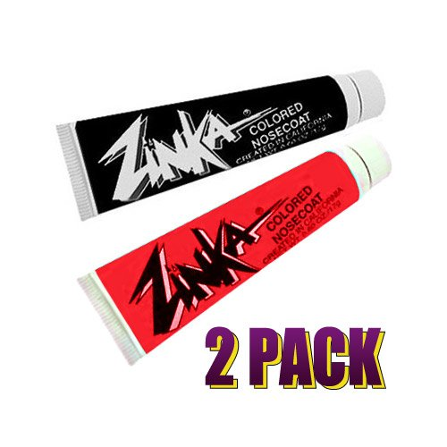 Zinka Colored Sunblock Zinc Waterproof Nosecoat 2 Pack Bundle - Black Red