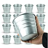 Galvanized Metal Bucket Planters Flower Pots for Porch Patio Deck or Backyard Set of 15 in Silver Review