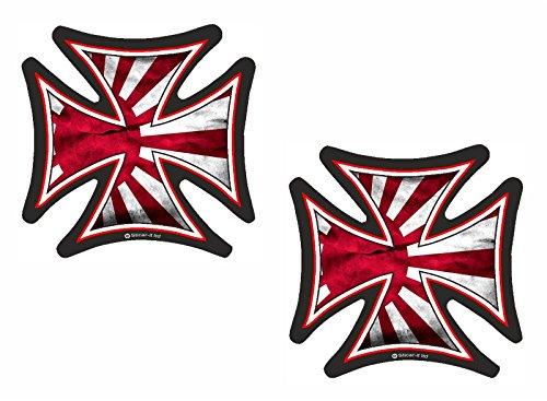 2pcs Iron Cross JDM Rising Sun Flag Vinyl