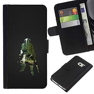 Protector de cuero de la PU de la cubierta del estilo de la carpeta del tirón BY RAYDREAMMM - Samsung Galaxy S6 EDGE - Dracónido Guerrero Skyrm Gaming