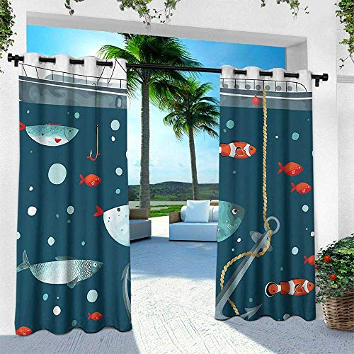 Anchor, for Patio Light Block Heat Out Water Proof Drape,Colorful Ocean Wildlife Pattern Clown Fish Exotic Subaquatic Animals Ecological, W96 x L108 Inch, Multicolor