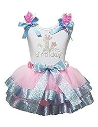 Petitebella My 1st Birthday Ruffles Shirt Pink Blue Petal Skirt Outfit Set Nb-2y