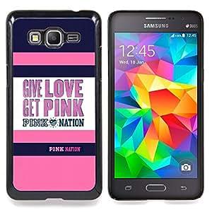 """Amor Get Quote púrpura rosada texto"""" - Metal de aluminio y de plástico duro Caja del teléfono - Negro - Samsung Galaxy Grand Prime G530F G530FZ G530Y G530H G530FZ/DS"""