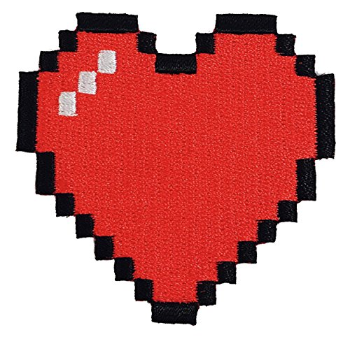 8-Bit Heart Video Game Embroidered Iron On Patch - Heart Bit 8