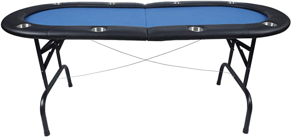 OSLAMP Foldable 8 Player Poker Table Texas Holdem Poker Casino Game Table with Blue Felt Cushioned Rail Cup Holders 73.2 x 35 x 30