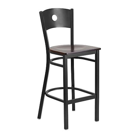 Offex Hercules Series Black Circle Back Metal Walnut Seat Restaurant  Barstool