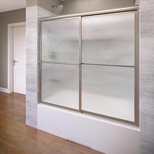 Basco Deluxe Framed Sliding Tub Door, Fits 56-59 inch opening, Rain Glass, Brushed Nickel Finish