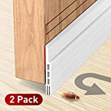 Holikme 2 Pack Door Draft Stopper Under Door Draft Blocker Insulator Door Sweep Weather Stripping Noise Stopper Strong Adhesive 39' Length
