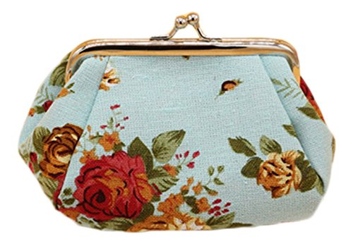 anvas Card Purse Clasp Closure Classic Rose Pattern Keys Wallet Gift 5.1