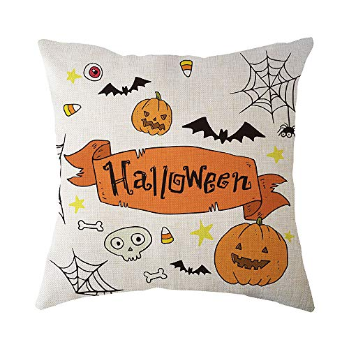 - Throw Pillow Case, Halloween Home Decoration, Jessie storee Painted Witch Pumpkin Scarecrow Bat Flax Throw Pillowcase Cushion Cover for Room Bedroom Sofa Chair Car, 18 x 18 inch, 45 x 45 cm, A