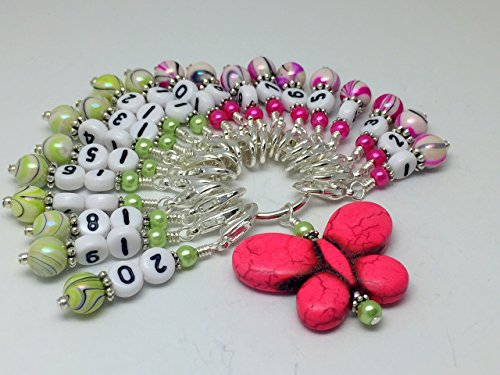 Numbered Stitch Marker Charms with Pink Butterfly Holder 1-20 by Jill's Beaded Knit Bits