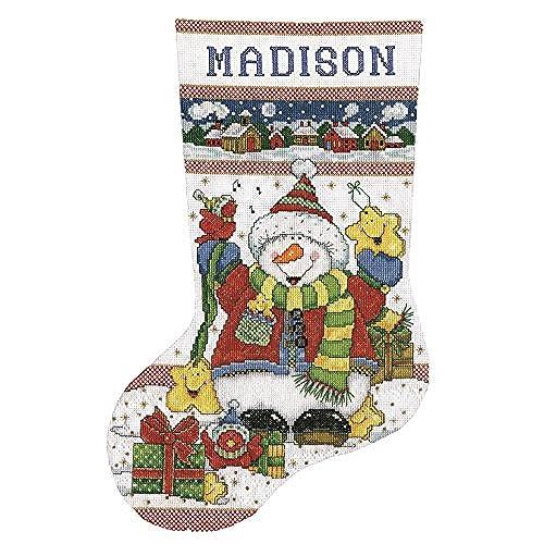 tobin 14 count snowman fun stocking counted cross stitch kit 17 inch long - Cross Stitch Christmas Stocking Kits